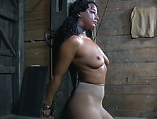 Freaky Brunette Dirty Bitch In Pantyhose Tied Up To The Post