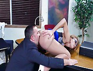 Brunette That Has A Nice Ass Is Getting Fucked By Her Coworkers
