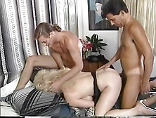 Two Yuppies Double Penetrate Blonde Slut