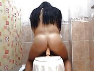 Wet Hot Trans Girl Rides Dildo In Bathroom