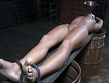 Stretched White Filthy Skank Tortured With Shackles And Funnel