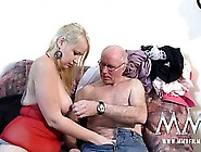 Young Blonde With Big Titties Takes On An Old Boner And Drains I