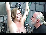 Bdsm Girl Hung Upside Down In Dungeon