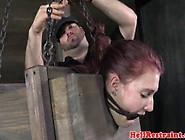 Bondage Sub Squirts When Toy Fucked