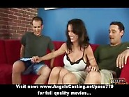 Hot Brunette Assistant Does Blowjob And Handjob For Two Guys