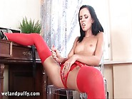 Red Stockings And Sexy Panties On Masturbating Girl