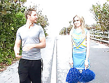 A Cute Cheerleader Does A Cheer And Accepts A Dick