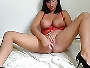 Frantic Young Black Brown In Red Fishnet Outfit Masturbating