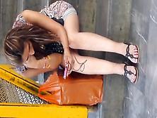 Sweet Teen In Flip Flops Exposing Her Gorgeous Tattooed Voyeur F