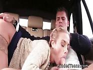Blonde Teen In Stockings Bangs In The Car