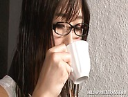 Horny Japanese Av Model In Glasses Seduces Young Guy
