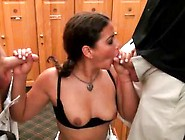 Hot Mom Adriana Sucks Two Dicks At Once