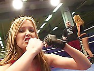 Two Nude Girls Fight On A Ring And Have Some Rest Afterwards