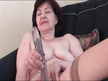 Dildo Fucks Hairy Granny Pussy Solo