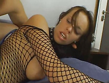 Whorish Chick In Body Fishnet Is Rammed By Hot Tempered Dude