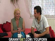Oldie Spreads Her Legs For Young Dick
