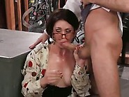 Sarah Shevon,  Her Boss And His Partner Are Having A Threesome In