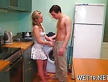 Amateur Blonde Girlfriend Fucked On Kitchen Table