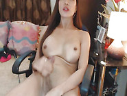 Nice-Looking Breasty Sheboy Masturbates Her Large Jock