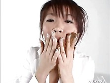 Japanese Lovely Girl Eats Scat And Plays With It (