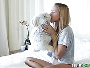 Cute Blonde Likes To Play With Her Bunny Rabbit