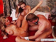 Two Hot Ladies Decided To Invite A Handsome Guy To The Bedroom A