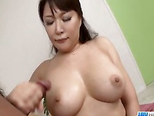 Asian Lady With Nice Tits Takes On Multiple Dicks