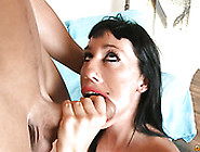 Big Boobed Brunette Bitch Gives Stout Deep Throat To Her Bald St