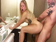 Amateur Blonde Teen Sucks And Fucks In The Bathroom,  Takes Cumsh