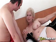 Big Breasted Blonde Granny Gets Her