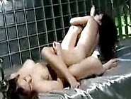 2 Busty Girls Rubbing Their Pussies In Scissor Kissing On The Be