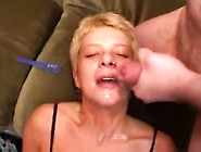 Short Haired Whore Eating Cum
