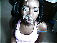 Nasty Ebony Harlot Enjoys Having Her Face Ejaculated On