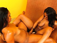 Hot Ebony Lesbians Lick And Finger Pussy Before Fucking Them Wit