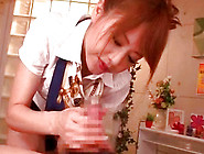 Beauty Japanese Cock Sucker With Red Hair Is Sucking Boner