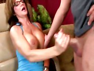 Busty Brunette Mature Tugging Dick And Loves It
