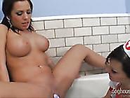 Big Breasted Brunette Tramps Present Hot Porno In Bathroom