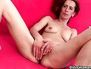 Skinny And Mature Homemaker Masturbates With Dildo