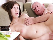 Delicious Young Girl Enjoys Old Hard Rod Entering Her Pussy