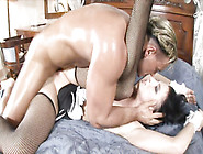 Obedient Brunette Maid Serves A Muscular Hunk To The Full
