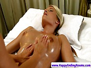 Blonde Massage Babe Erotically Rubbing Her Female Client By Gerr