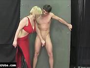 Sexy Blonde Mistress Milks Her Slave's Cock