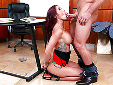 Impressive Monique Alexander Kneels Before Male's Huge Cock To T