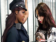 Hungry Lesbian Black Cop Arrests Young White Chick And Fucks In
