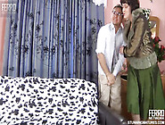 Chubby Granny In Pantyhose Seduces A Skinny Geeky Boy