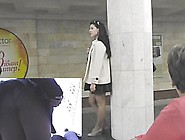 Agreeable Upskirt Beauty In Beige Coat