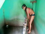 Desi Village Girl Full Bathing In Bra Panty N Changing Dress Wit