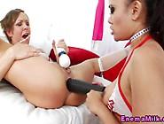 Milky Enema Loving Babes With Big Toys