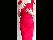 Sexy Granny Big Tits,  Shaved Pussy Stripping Off Red Dress (1)