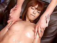 Japanese Tart Gets Her Oiled Pussy Toyed To Orgasm